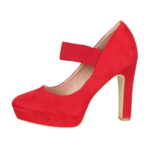Elara Zapato de Tacón Alto con Correa Mujer Vintage Chunkyrayan Rojo E22500 Red-39