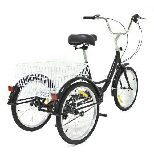 Kaibrite 20 Pouces Tricycle Adulte avec Panier Tricycle Vélo de Cyclisme à Pédales, pour Faire du Shopping Sports de Pique-Nique en Plein Air 8 Vitesses Tricycle à 3 Roues