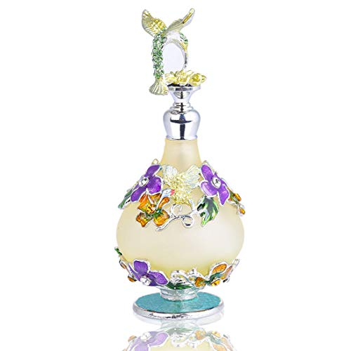 YUFENG Refillable Decorative Glass Perfume Bottle w/Fancy Retro Frosted Design - Vintage Perfume Bottle Empty w/Hummingbird Figurine Top