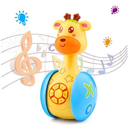 Baby Spielzeug - Musikspielzeug Baby Spielzeug Cartoon Giraffe Tumbler für Kleinkinder Kinder, Stehauf Spielzeug Soundspielzeug mit Musik und Lichter für Jungen und Mädchen
