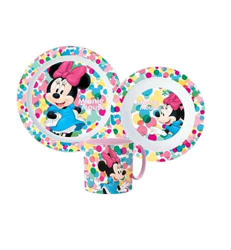Little Flight Minnie con Pois Bianchi Disney Kit Pappa Scuola Set Pappa Mare Piatto,Bicchiere E Ciotola in PLASTICA Riutilizzabile MICROONDE Minnie Disney(1 Piatto,1 Tazza con Manico,1 Ciotola)
