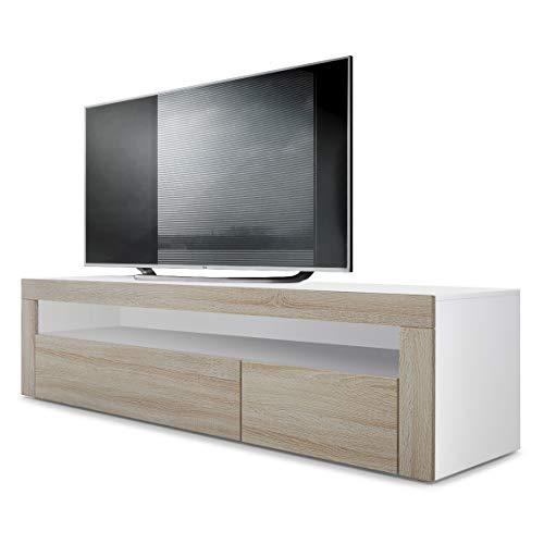 Vladon TV Board Lowboard Valencia, Korpus in Weiß matt/Front in Eiche sägerau mit Rahmen in Eiche sägerau