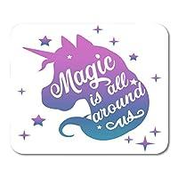 ポジティブフレーズレタリングマジックとスターオンホワイトマウスマットマウスパッドでマウスパッドインスピレーション水彩ユニコーンヘッドシルエット