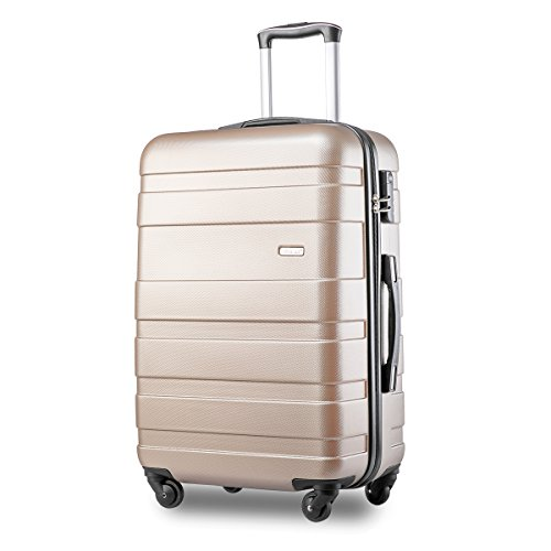 Merax Hard Shell Carry On Cabin Hand Luggage Suitcase with 4 Wheels Approved for Ryanair, easyJet, British Airways, Virgin Atlantic, Flybe and More (Golden)
