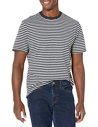 Amazon Essentials Men's 2-Pack Slim-Fit Short-Sleeve Crewneck Stripe T-Shirt, Black/Light Gray Heather, Large