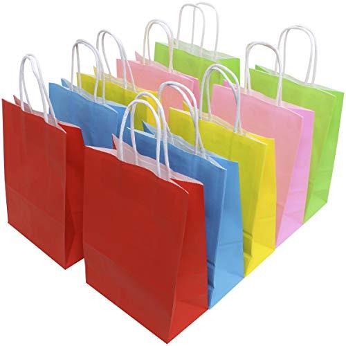iGadgitz Home U7133 Bunt Partytüten, Papiertüten mit Griffen (5 Farben), Geschenktaschen mit Henkel -Mehrfarbig -10stk