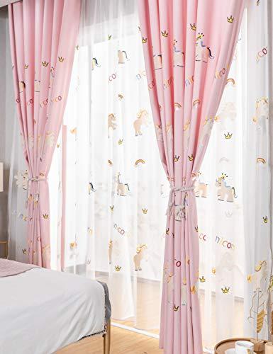 Lactraum Cortinas para habitación de niños, niñas, princesas, bordadas, unicornio, arco iris, nubes, corona, voile con ojales, 145 x 245 cm