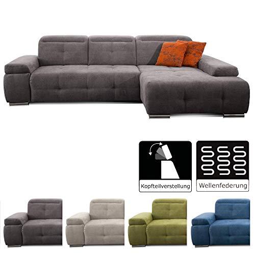 CAVADORE Ecksofa Mistrel mit Longchair XL rechts / Große Eck-Couch im modernen Design / Inkl. verstellbaren Kopfteilen / Wellenunterfederung / 273 x 77 x 173 / Kati Fango