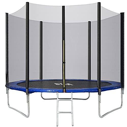 MYDENIMSKY Trampolín al aire libre para adultos/niños de 12 pies de alta especificación con hoja de salto, redes de seguridad de recinto, escalera y kit de anclaje, trampolín de jardín