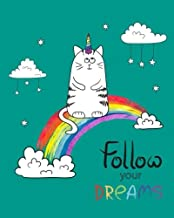 """Follow Your Dreams: Unicorn Caticorn Ultimate Blank Sticker Book for Kids, Sticker book Collecting Album: Blank Notebook Pages, Size: 8"""" x 10"""" (Blank Sticker book for Toddlers, Kids, Girls, Boys)"""