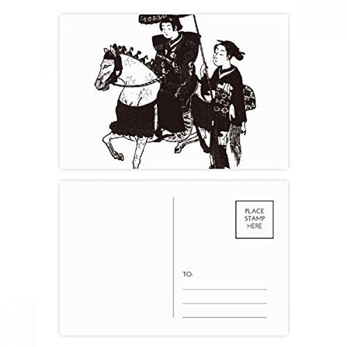 DIYthinker Japan Vrouwen Rijden Paard Schets Postkaart Set Verjaardag Thanks Card Mailing Side 20 stks 5.7 inch x 3.8 inch Multi kleuren