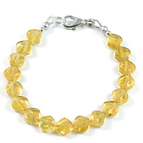 AqBeadsUk Semi Precious Stone Bracelet Gemstone 8mm Natural Citrine Beads 7.5' Luxury Handmade Women's Bracelet