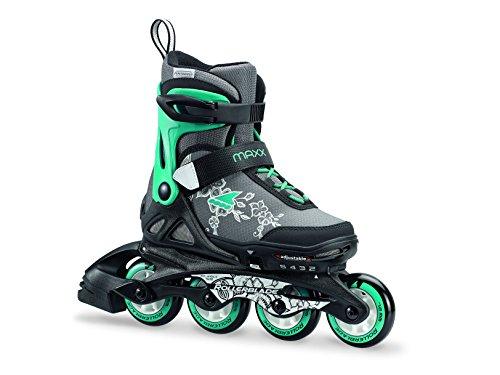 Rollerblade Mädchen MAXX G Junior Inline Skate, schwarz/Smaragdgrün, 28-32
