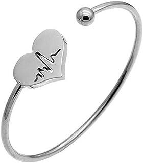 AILUOR Enfermera Pulsera-Latido del corazón de Plata Ajustable de Las Mujeres de Oro Abierto Brazalete Pulsera Brazalete c...