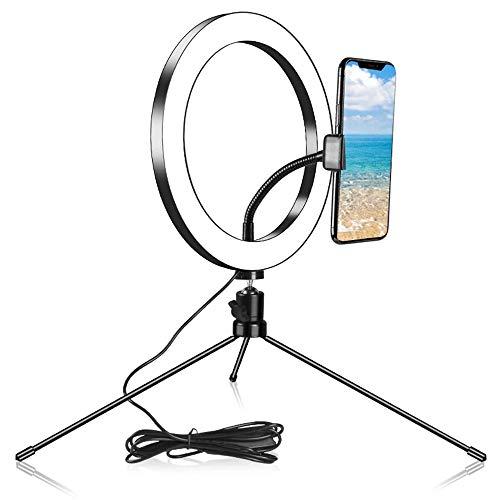 ZJING Kit de iluminación de luz anular, luz anular de Mesa Selfie con Soporte para teléfono móvil, luz anular con 3 Colores y 10 Niveles de Brillo, para Videos de Tiktok en Youtube