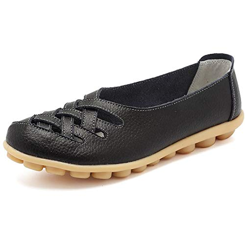 Eagsouni Damen Mokassins Bootsschuhe Leder Loafers Schuhe Flatschuhe Halbschuhe Flache Fahren Halbschuhe Slippers,Schwarz,43 EU