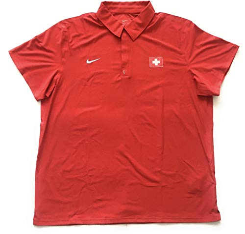 Nike Herren Roger Federer RF Switzerland Davis Cup Tennis Polo Shirt 439505 611 Rot Größe XXL