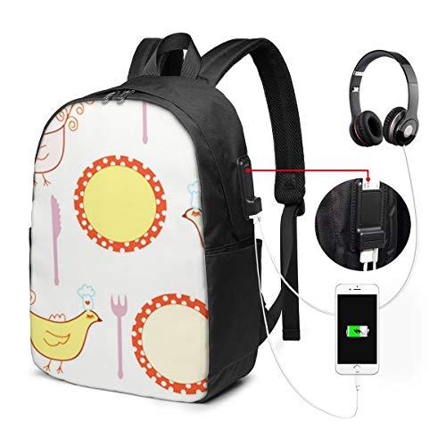 Laptop Rucksack Business Rucksack Für 17 Zoll Laptop, Dot Kochplatten Bird Schulrucksack Mit USB Port für Arbeit Wandern Reisen Camping, für Herren Damen
