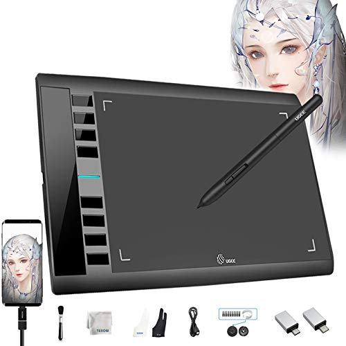 UGEE M708 V2 Graphics Tablet Android Supported 10 x 6 Inch Digital Tablets Dwith 8192 Level Pressure Sensitive Battery-Free Pen 8 Hot Keys Drawing Tablet Support Windows 10/8/7 Mac Os Android 6.0