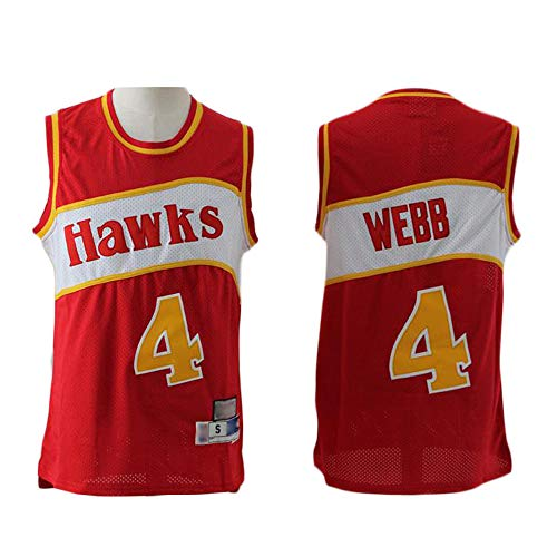 MMQQL Herren-Basketballtrikot Atlanta Hawks # 4 Spud Webb Basketball Ärmelloses, Klassisches Swing-Besticktes Damen-Top,Rot,S165~170cm/55~65KG