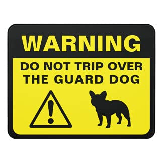 Metal Sign Aluminum Warning Sign Notice Plaque Wall Hanging French Bulldog Silhouette Funny Guard Dog Sign for Farmhouse Gate Garage Business Sign Caution Sign Safety Sign Outdoor Sign Yard Sign