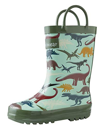 OAKI Kids Rubber Rain Boots with Easy-On Handles, Earthy Dino, 4Y US Big Kid