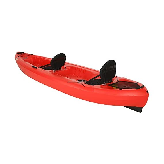Lifetime Beacon Tandem Kayak, Red, 12' 4 Two built-in padded crs + ultra Lite seats. Rear tank well with cargo net lacing for storage Skeg wheel for enhanced tracking and easy transportation. Storage hatch for added storage beneath the deck Molded-in footwells for comfort and secure foot bracing. Four carry handles to assist in transport