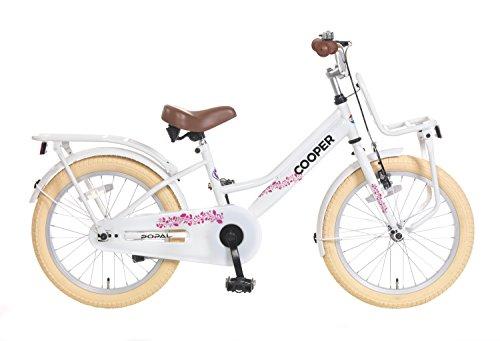 Kinderfahrrad Mädchen Popal Cooper 18 Zoll mit Vorradbremse am Lenker und Rücktrittbremse Gepäckträger Weiß 95% Zusammengebaut