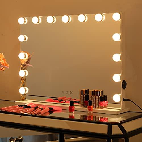 2-FNS Hollywood Schminkspiegel mit 15 LED Licht, Beleuchtet Touchscreen Kosmetikspiegel with Beleuchtung, 3 Color modifications, Einstellbare Helligkeit, mit USB, Tischplatte oder Wandhalterung
