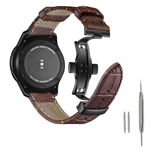Aottom Compatibel met armband Samsung Galaxy Watch 46 mm leer, horloge 22 mm smartwatch armband Samsung Gear S3 Frontier lederen armband Gear S3 Classic reservearmband met vlindersluiting armbanden