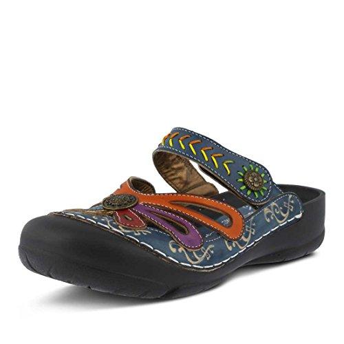 L'artiste by Spring Step Women's Copa Flat Sandal, Blue/Multi, 41 EU/9.5-10 M US