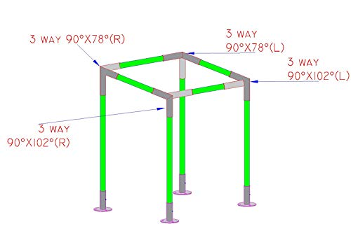 Simond Store Canopy Fittings KIT for 10'X10' Frame Slant ROOF CARPORT Tent Shade Greenhouse