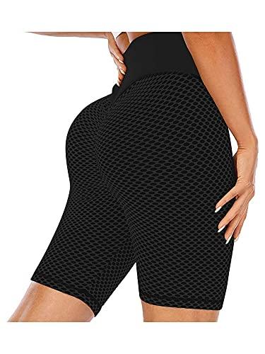 Dazzerake Mallas de correr para entrenamiento, pantalones deportivos de yoga ajustados de cintura alta elástica para mujer Negro M
