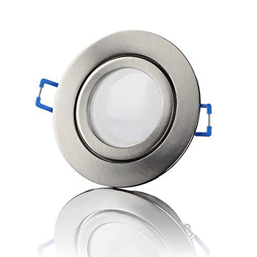 lambado® Premium LED Spots IP44 Flach in Edelstahl gebürstet - Hell & Sparsam inkl. 230V 5W Strahler warmweiß dimmbar - Moderne Beleuchtung durch zeitlose Bad-Einbaustrahler/Deckenstrahler für Außen