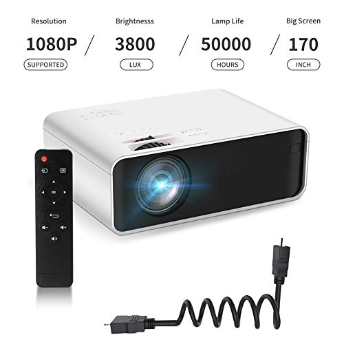 Mini Projector, Funcilit LED Video Projector[with Tripod],Supported 1080P HD Projector for Children Present, Video TV Movie, Party Game, Outdoor Entertainment with HDMI, VGA, USB, TF, iPhone, iPad
