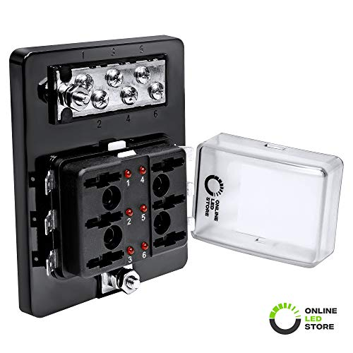 6 Way Blade Fuse Box with Ground Negative Bus bar for Automotive [ATC/ATO Blade Fuses] [100 Amp] [LED] [Protection Cover] [12V - 30V DC] Auto Marine Ground Fuse Block