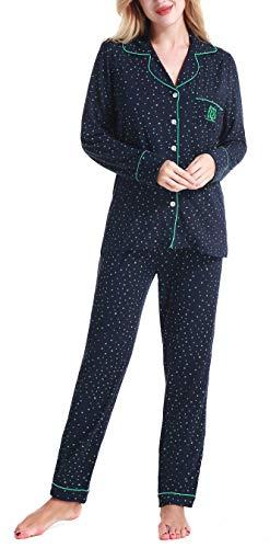 Damen Schlafanzüge Nachtwäsche langen Ärmeln Pyjama by Nora Twips, Farbe Stern Gr. L