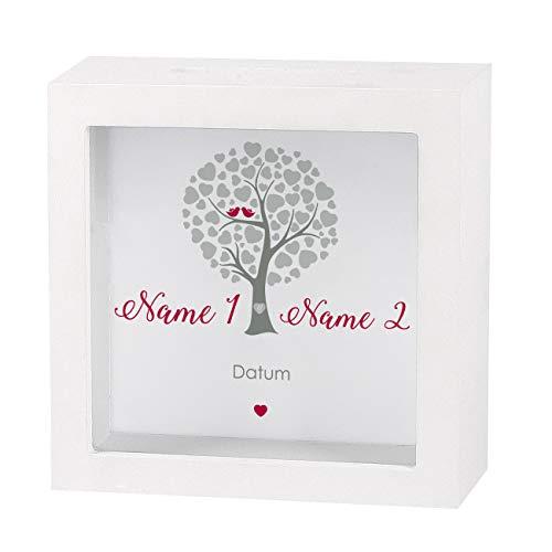 Herz & Heim® Geldgeschenk zur Hochzeit als Bedruckte Bilderrahmen Spardose - individuell für Sie erstellt mit Namen und Datum Herzbaum