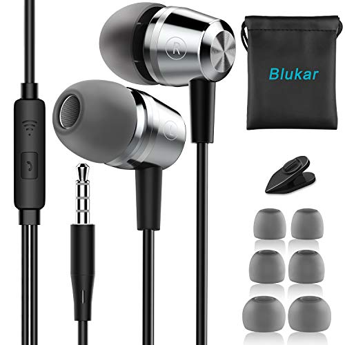 Blukar Auriculares In Ear, Auriculares con Cable y Micrófono Headphone Sonido...