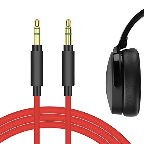 Geekria QuickFit Audio Cable Compatible with Sküllcandy Hesh 3, Hesh 2, Hesh, Grind, Venue, Cassette, Aviator, Crusher Evo Wireless Headphones Cable, 3.5mm AUX Replacement Stereo Cord (Red 5.6FT)