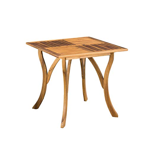 Christopher Knight Home Hermosa Acacia Wood Square Table, Teak Finish