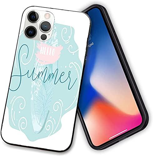Funda compatible con iPhone 12 Series, abstracta Rizado mar con una tabla de surf hojas de selva, protección completa para iPhone 12 pro-6.1 pulgadas