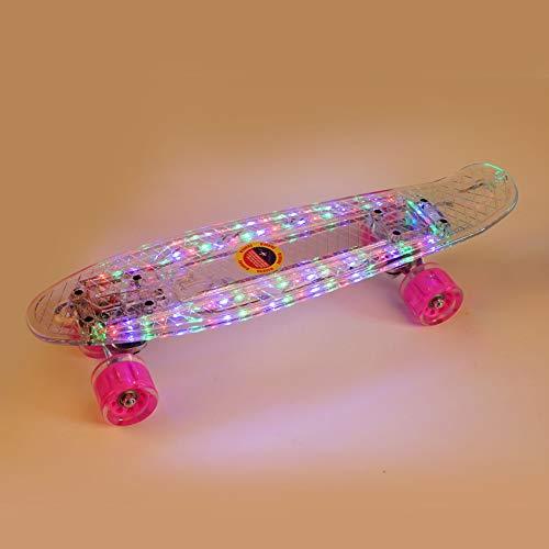 Skateboard 22 Inch Skateboard with Led Light Up Wheels for Beginners Flash Transparent Skateboard, Complete Mini Cruiser Retro Skateboard for Kid Durable Clear Led Skateboard with Light Up Wheel