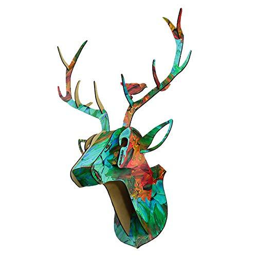 Fenteer Wood Deer Head Wall Decor Antlers Sculpture DIY 3D Puzzle Wall Decoration Storage Holder Racks for Living Room Office Gallery Decor - 003