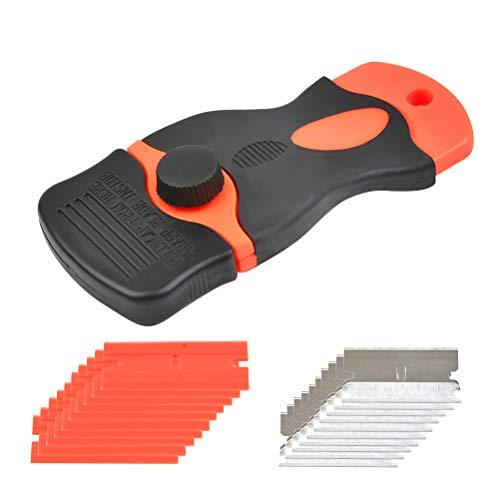 Idealeben 1 rasqueta con mango de acero al carbono y 10 cuchillas de plástico para eliminar el pegamento, pintura, calcomanías, tintado, raspador de vitrocerámica.