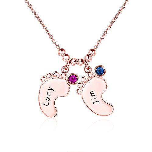 Junmei Collar de Nombre con dijes de pies de bebé Personalizado con Piedra de Nacimiento Collar de Familia Grabado en Plata de Ley 925 2 Nombres