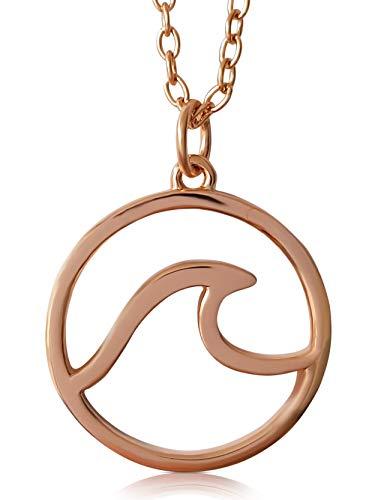 VIASOUL® Halskette Welle I Wave für Damen aus 925er Silber I Mit 585er Gold überzogen I Die Original Wellen Kette (Rose)