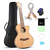 Hricane Cutaway Tenor Ukulele 27 Inch Extra Slim Light Spruce Top Travel Ukulele for Beginner with Gig Bag Strap Strings Sets