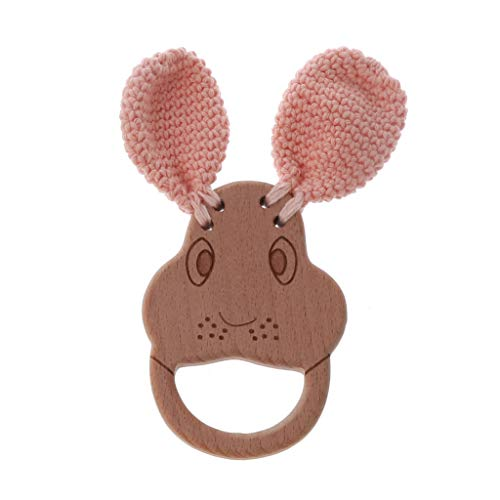 N A Yuanshenortey - Anillo mordedor para bebé, madera de haya, juguete para el cochecito de bebé, diseño de perro, sonajero de madera, accesorio para el cuidado del bebé