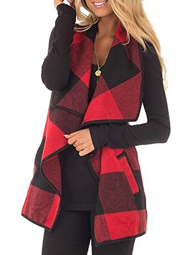 Womens Sleeveless Vest Buffalo Plaid Draped Open Front Hem Cardigan Coat